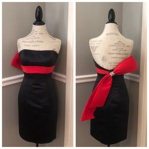 JOVANI BLACK STRAPLESS RED BOW COCKTAIL DRESS